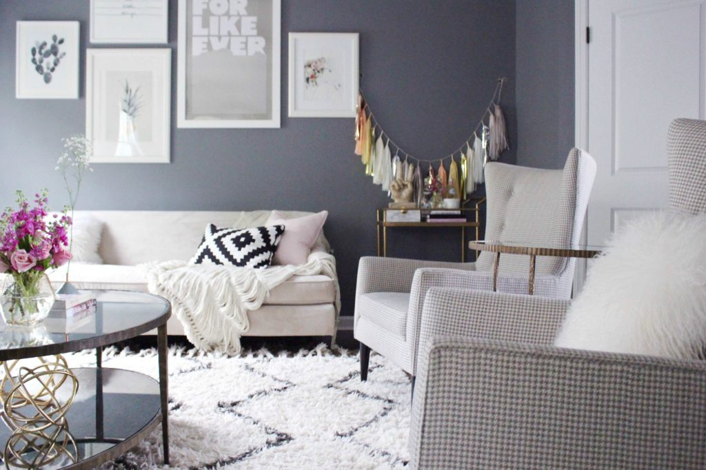 Gray and Pink Living Room - Zoe With Love