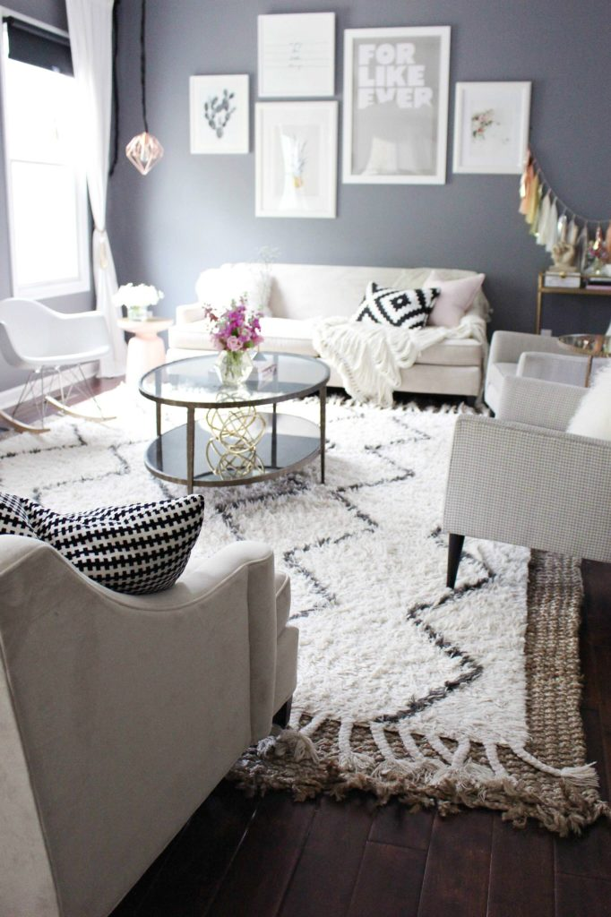 Living Room Design - Gray and Pink zoewithlove.me