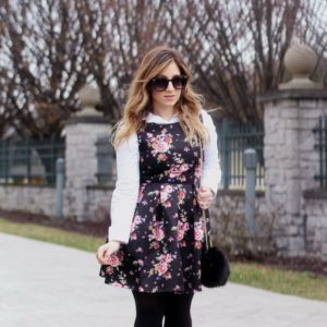 Black Floral Print Dress for Now and Later