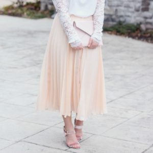 A Romantic Look: White Lace Top with a Pleated Midi Skirt