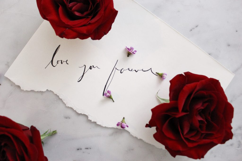 Red roses on marble