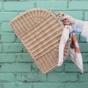 Vintage Basket Bag and Silk Scarves