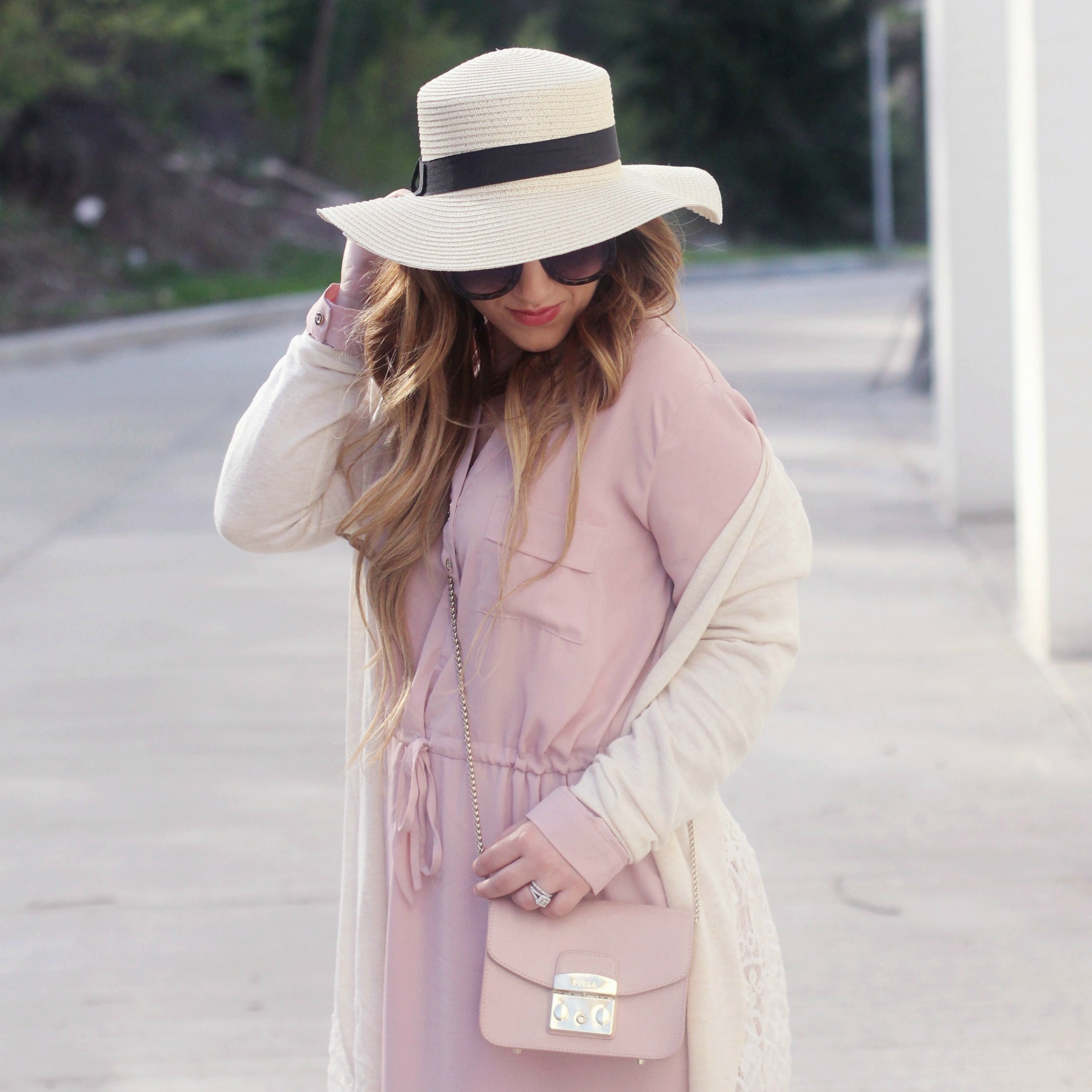 Layering for Spring: Pink Shirtdress + Lace Duster ...