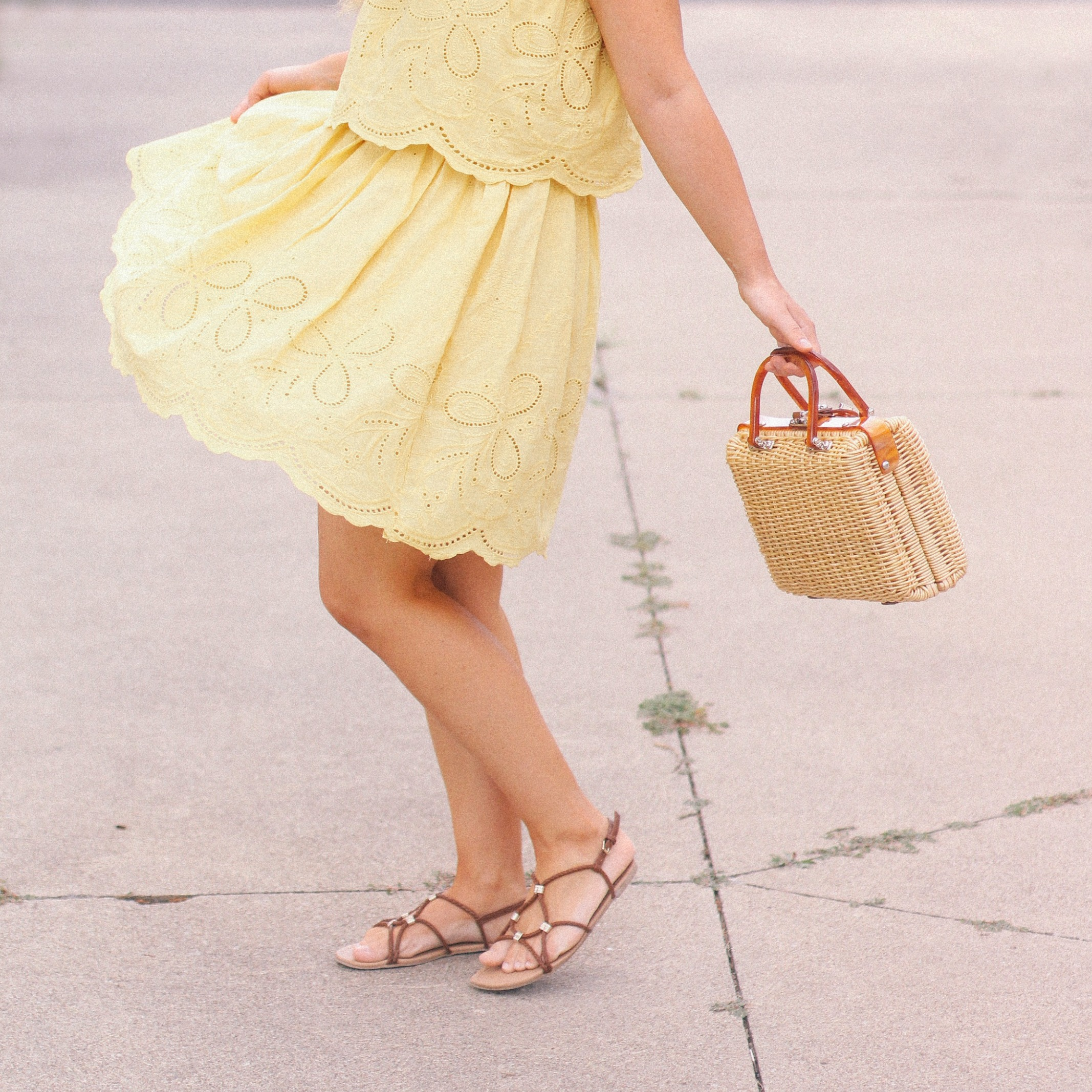 If August Were a Dress: This yellow cotton eyelet dress is the perfect look for the end of the summer!