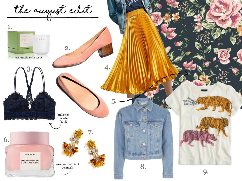 The August Edit, featuring: a pleated yellow skirt, dark floral wallpaper, an orange blossom scented candle, watermelon beauty mask and how to wear graphic tees